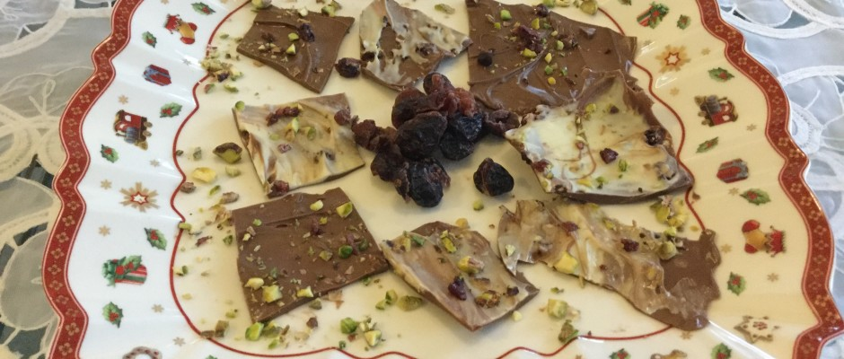 Cranberries , Chocolate bark and a bit of Santa Claus