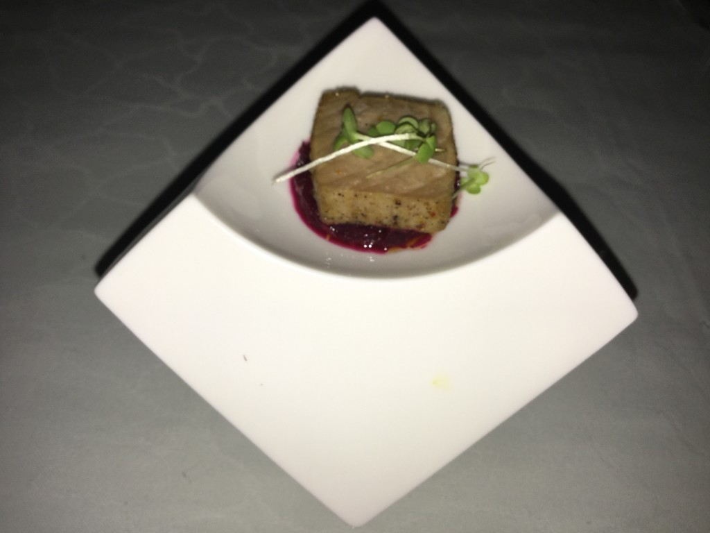 Tuna Tataki with beetroot relish - love the pyramid/cuboid dish !