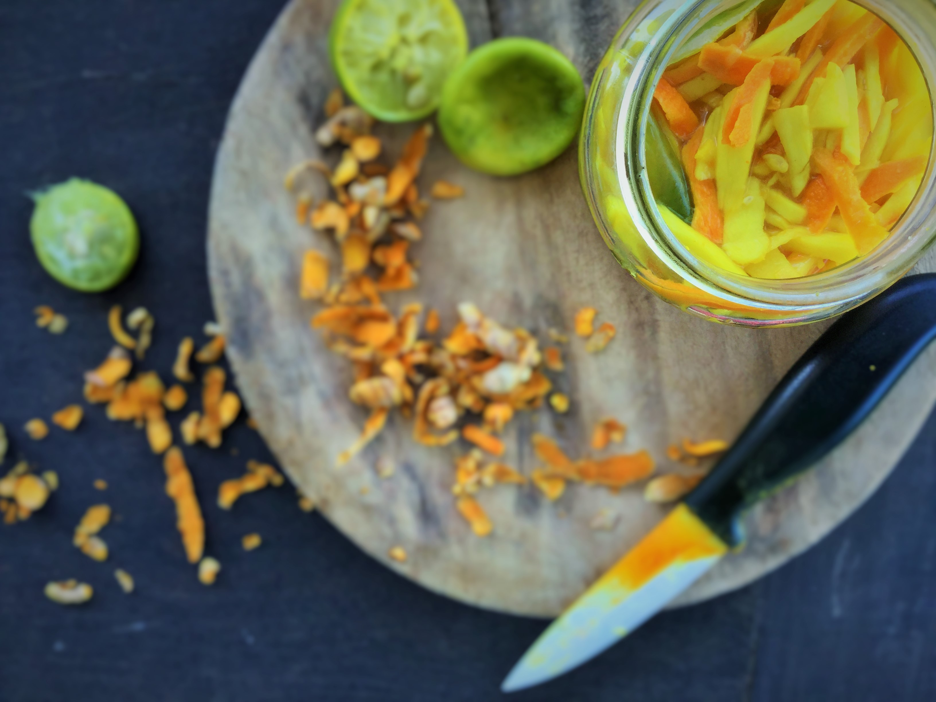 Pickled fresh turmeric with mango ginger (manjal and maa inji)