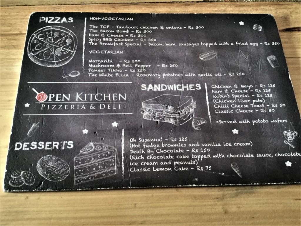 Open kitchen menu