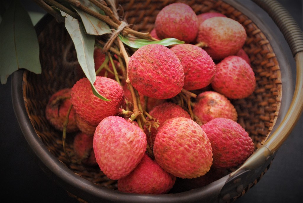 Litchis in a bunch close up